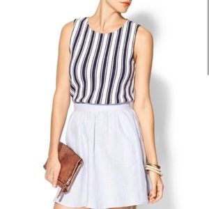 THEORY • structured striped knit sleeveless top M